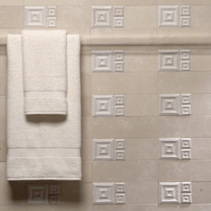 white ceramic tile accent square bathroom wall