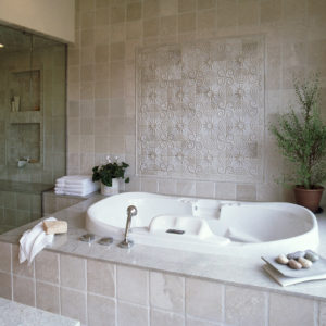 white ceramic tile bathroom accent wall square pattern mosaic
