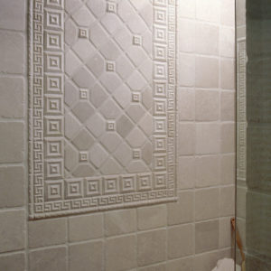 white ceramic tile bathroom shower accent pattern squares mosaic