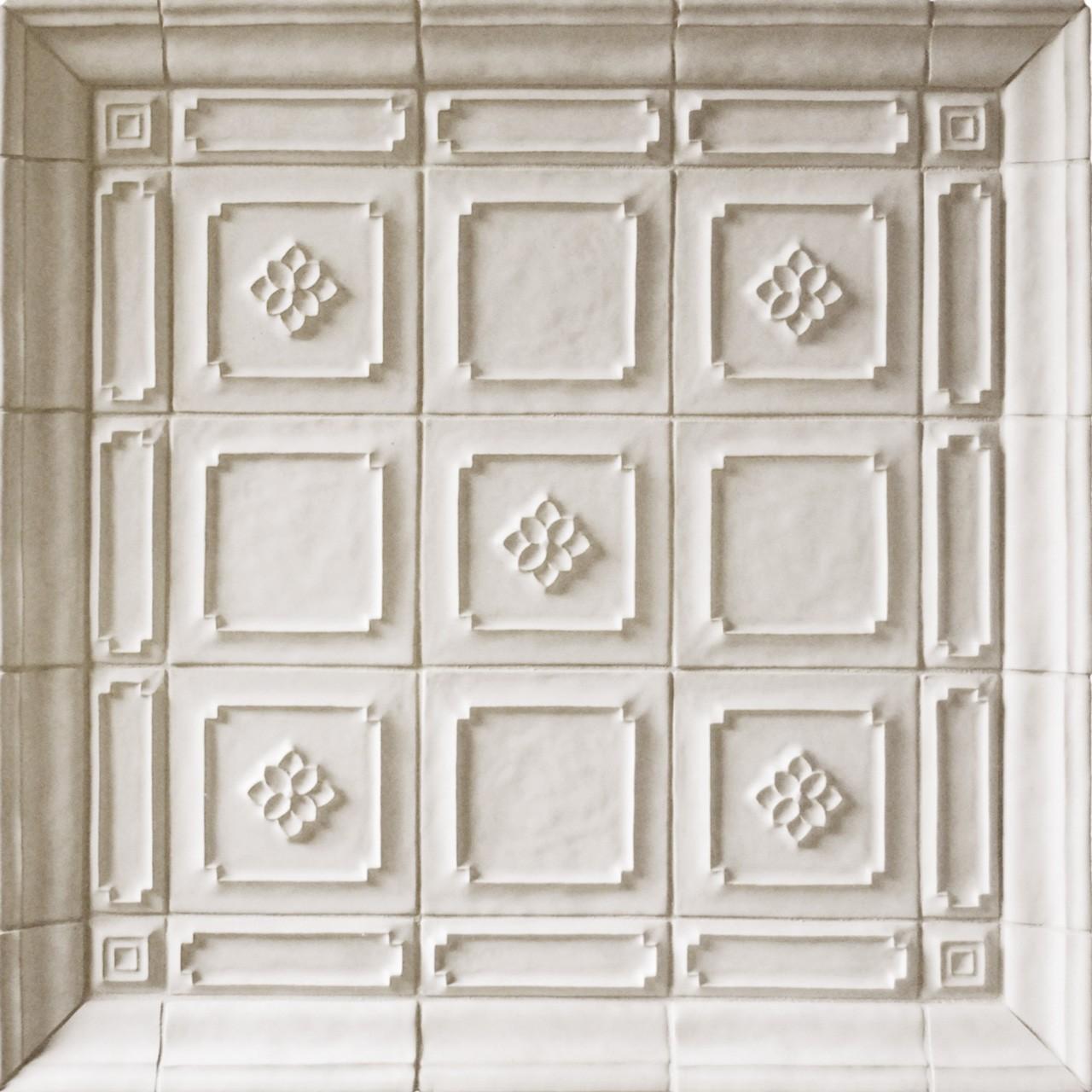 Talisman Poet's Garden, Courtyard, Border, 2-inch, Crown Molding white ceramic tile display