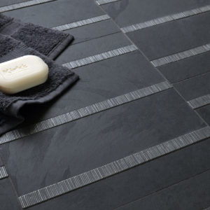 zinc liner accent tile black stone bathroom McQueen
