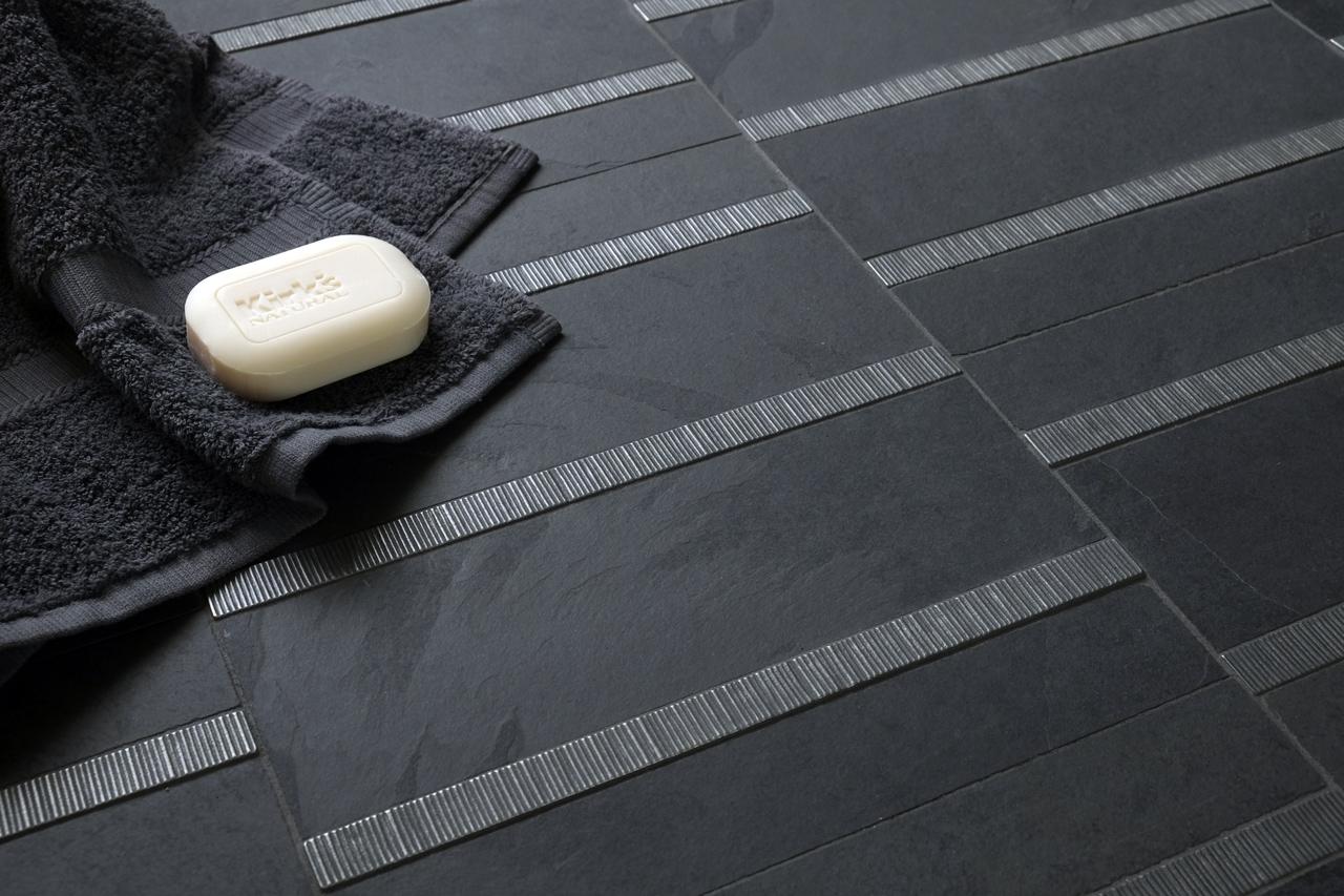 zinc liner accent tile black stone bathroom McQueen
